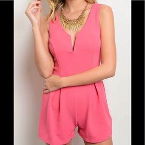 Pants - Pink classy sleeveless romper